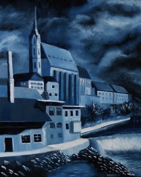 """Mark Webster - Church of St. Vitus - Cesky Krumlov, Czech Republic - Midnight Oil Series"" original fine art by Mark Webster"