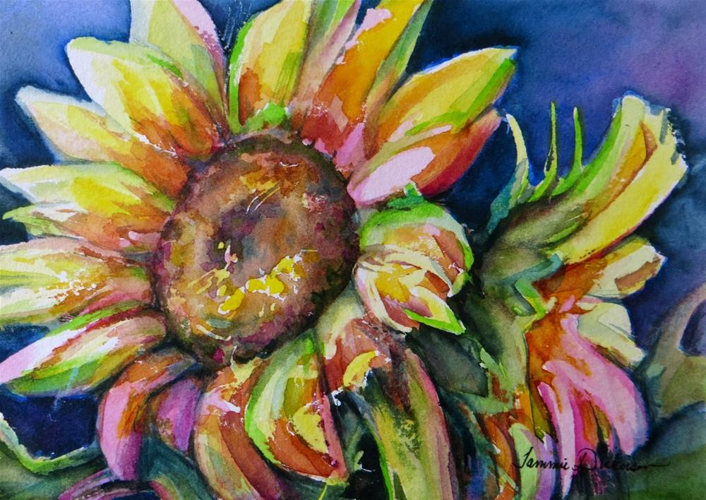 """Midnight Sunflowers"" original fine art by Tammie Dickerson"