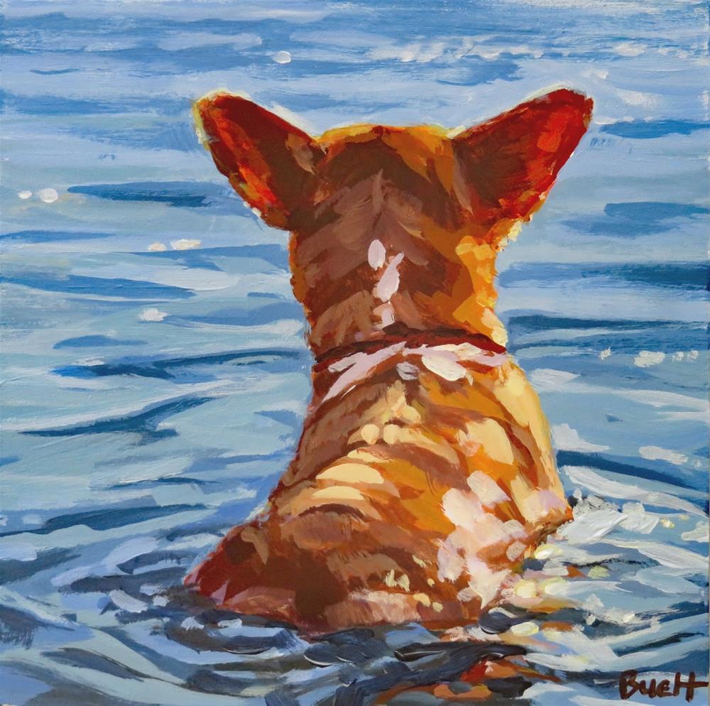 """Cooling Off Corgi"" original fine art by Shari Buelt"