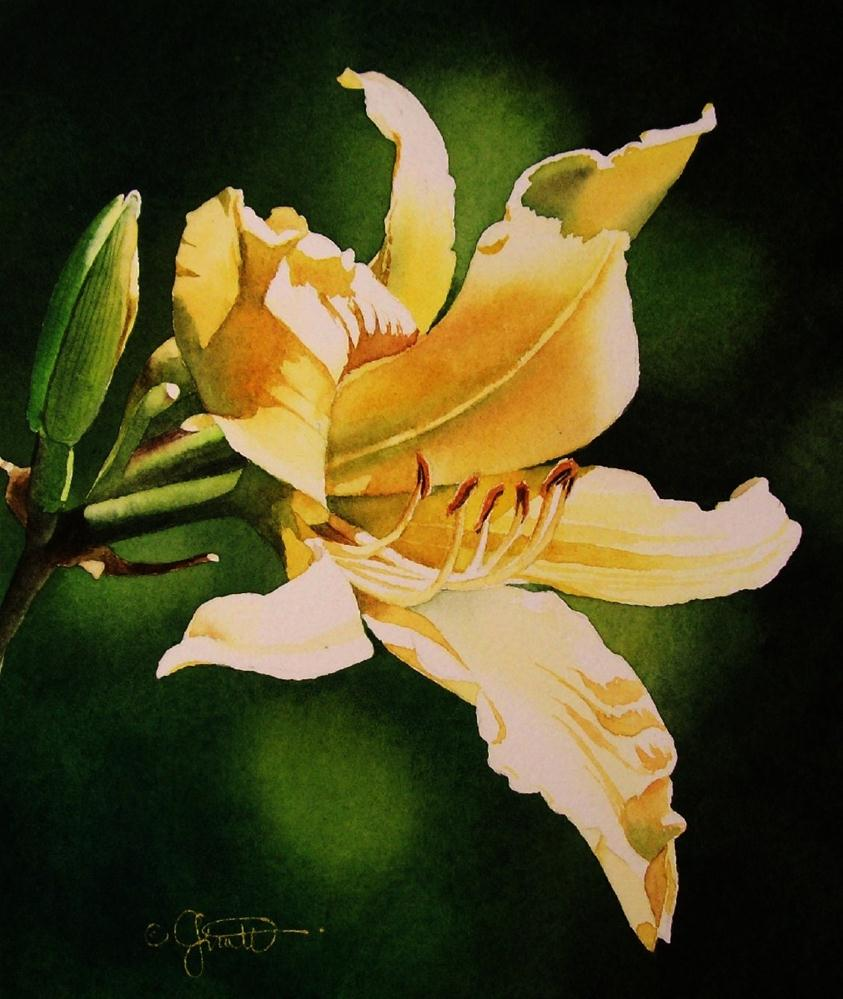 """""""Yellow Day Lily"""" original fine art by Jacqueline Gnott, TWSA, WHS"""