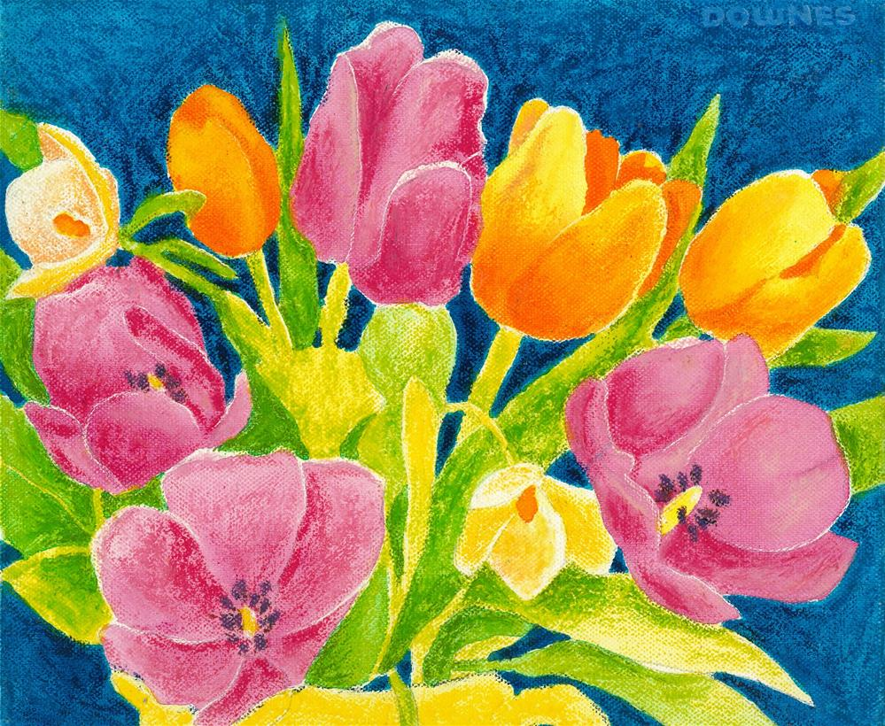 """129 FLOWERS STYLISED 5"" original fine art by Trevor Downes"