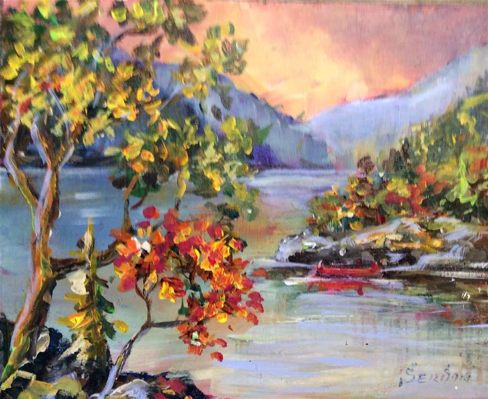 """""""West Coast Landscape With Red Canoe"""" original fine art by Sonia von Walter"""