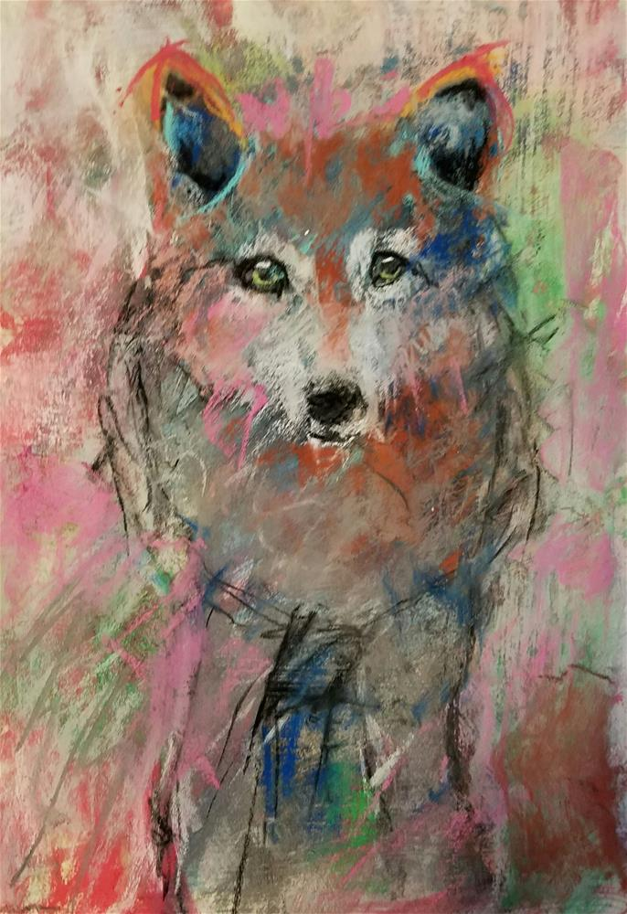 """Crazy Wolf"" original fine art by Cindy Haase"