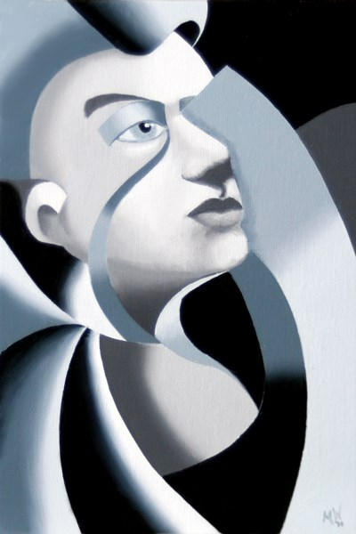 """""""Mark Webster - Abstract Grayscale Unfinished Sculpture 1 Oil Painting"""" original fine art by Mark Webster"""