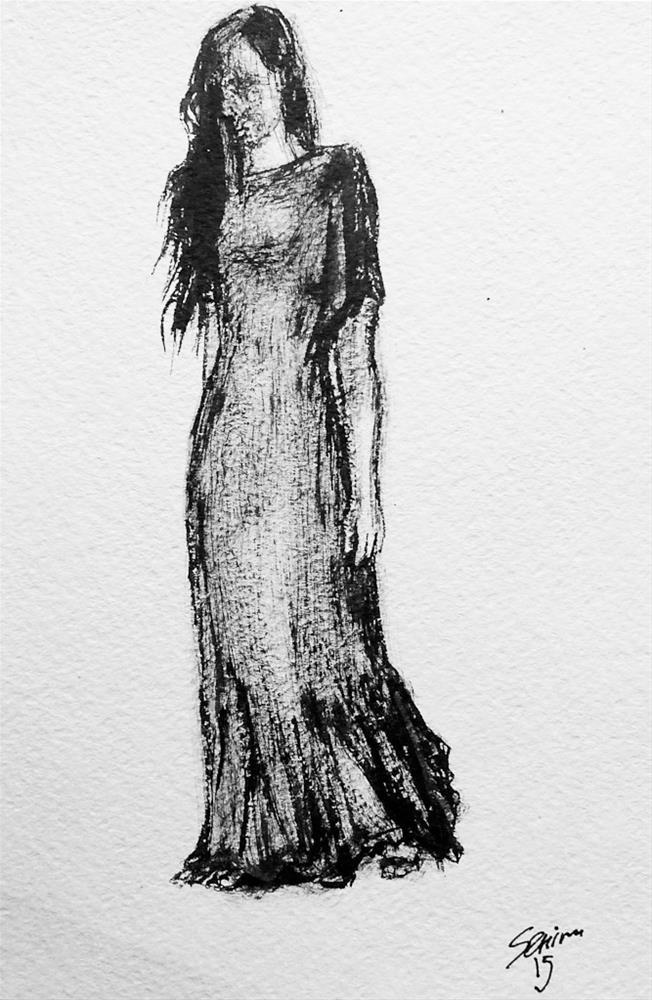 """Unsuitable Dress"" original fine art by Elena Senina"