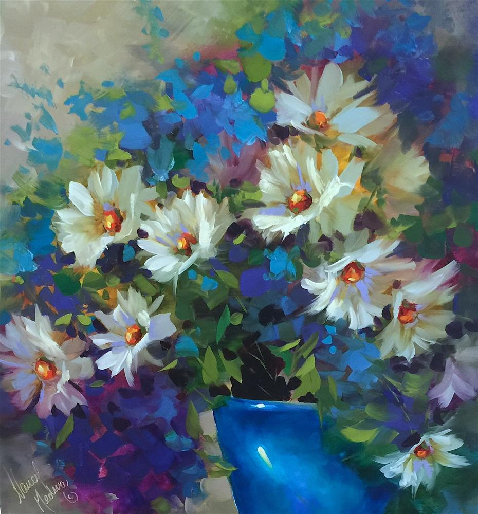 """Seven Days Until Painting Brilliant Colors and Italian Daisies Blooming on the Canvas"" original fine art by Nancy Medina"
