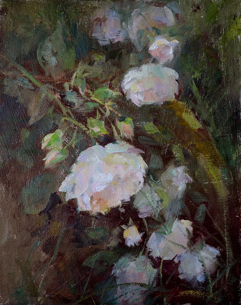 """""""White Roses"""" original fine art by Denise Maxwell"""