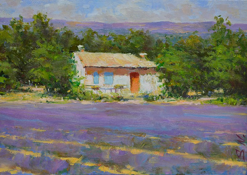 """Cottage at the edge of lavender field"" original fine art by Nick Sarazan"