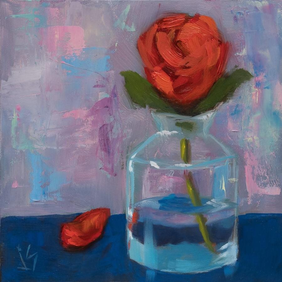 """Rose in Turquoise Glass"" original fine art by Johnna Schelling"
