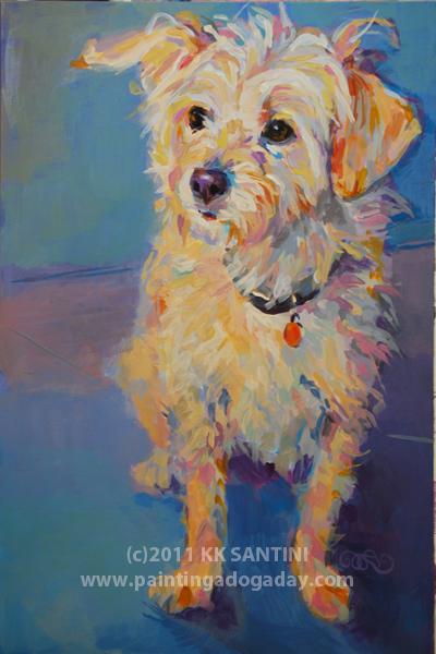 """Penny Peach, A Gratitude Painting"" original fine art by Kimberly Santini"