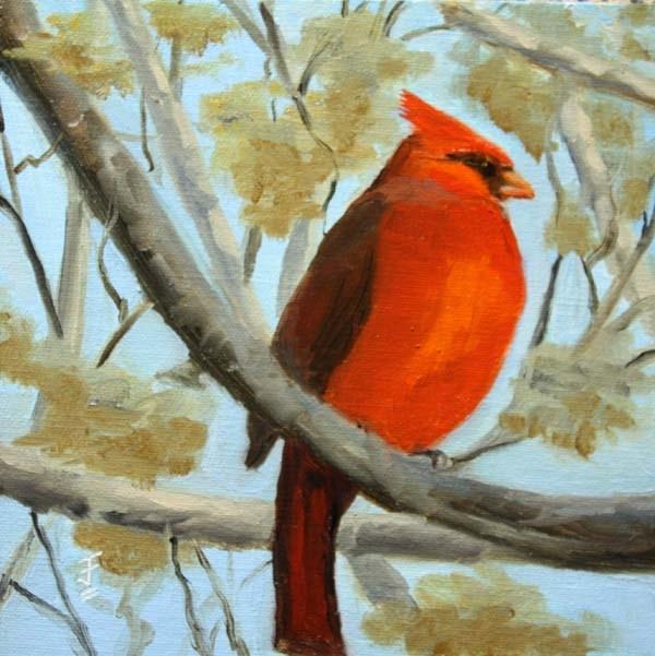 """Mr. Cardinal"" original fine art by Jane Frederick"