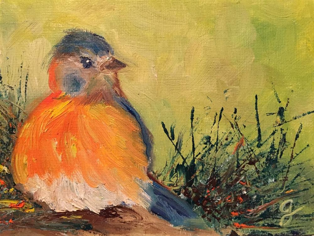 """Baby Bluebird"" original fine art by Gayle Lambeth"