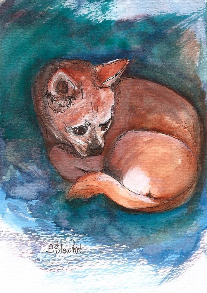"""5x7 Chihuahua Pet Portrait Applehead Dog Mixed Media Painting Penny StewArt"" original fine art by Penny Lee StewArt"