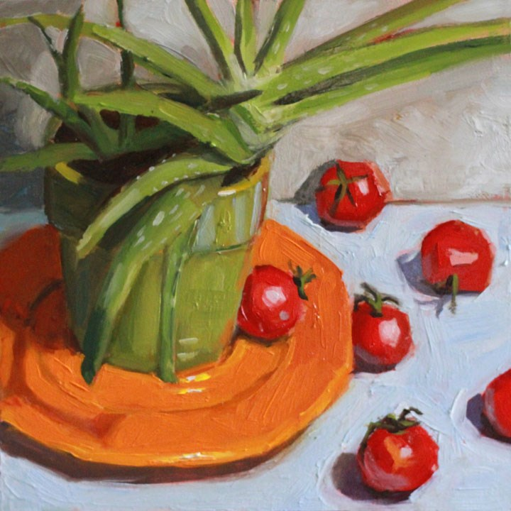 """Aloe Ha Tomatoes"" original fine art by Nealy May Riley"