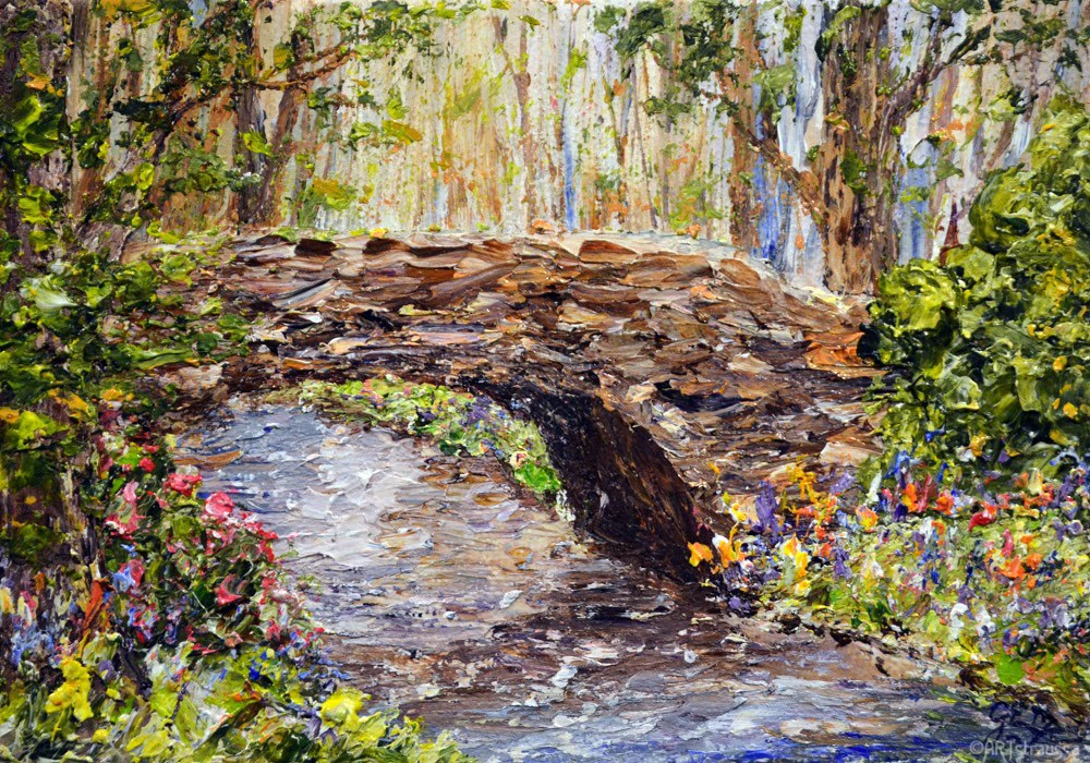 """Minterne Bridge (charity)"" original fine art by Gloria Ester"