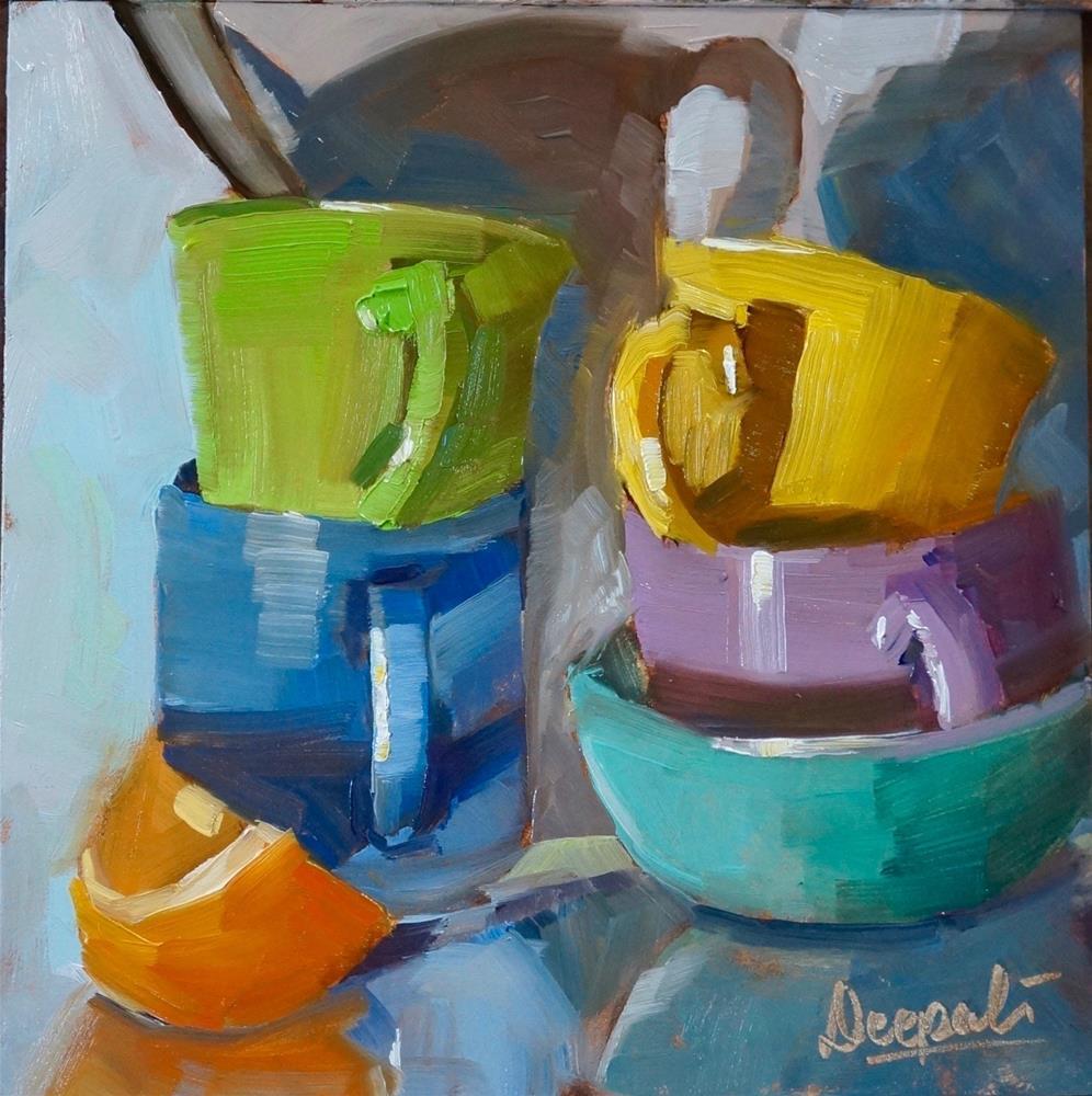 """orange slice and stacked cups"" original fine art by Dipali Rabadiya"