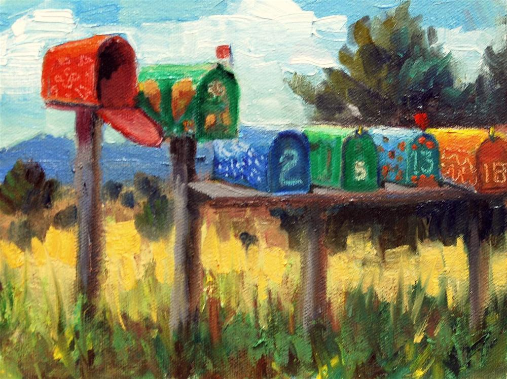 """New Mexico Mailboxes"" original fine art by Julie Ford Oliver"