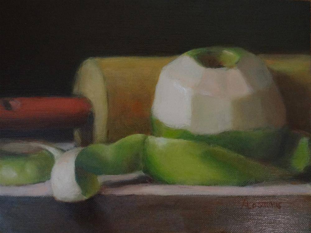 """""""Green Apple with Rolling Pin"""" original fine art by Adele Loomans"""