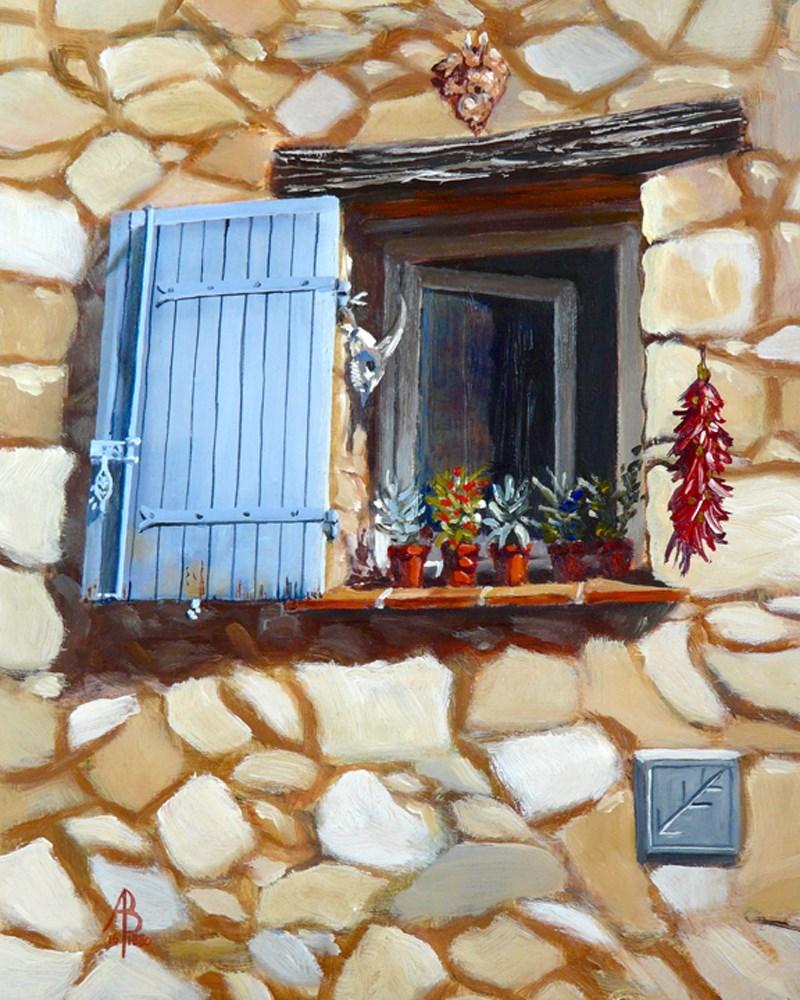 """""""Blue shutter and clutter"""" original fine art by Alix Baker PCAFAS AUA"""