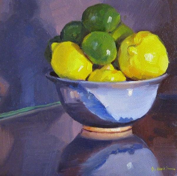 """Lemons and Limes fruit bowl still life oil painting original"" original fine art by Sarah Sedwick"