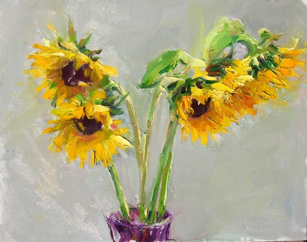 """Sunny Summer Sunflowers,still life,oil on canvas,11x14,price$450"" original fine art by Joy Olney"