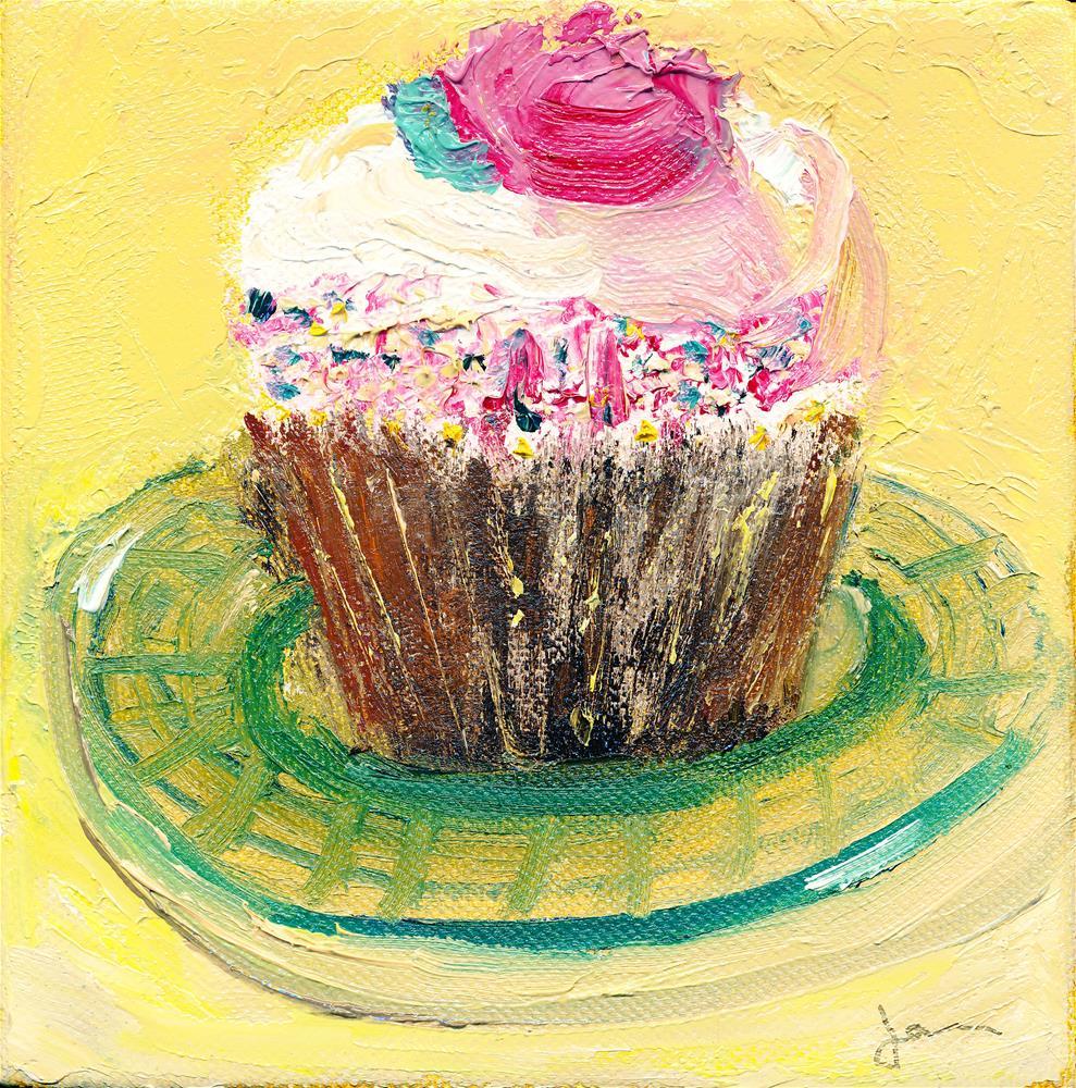 """Cupcake on Glass Plate"" original fine art by Janet Gunderson"