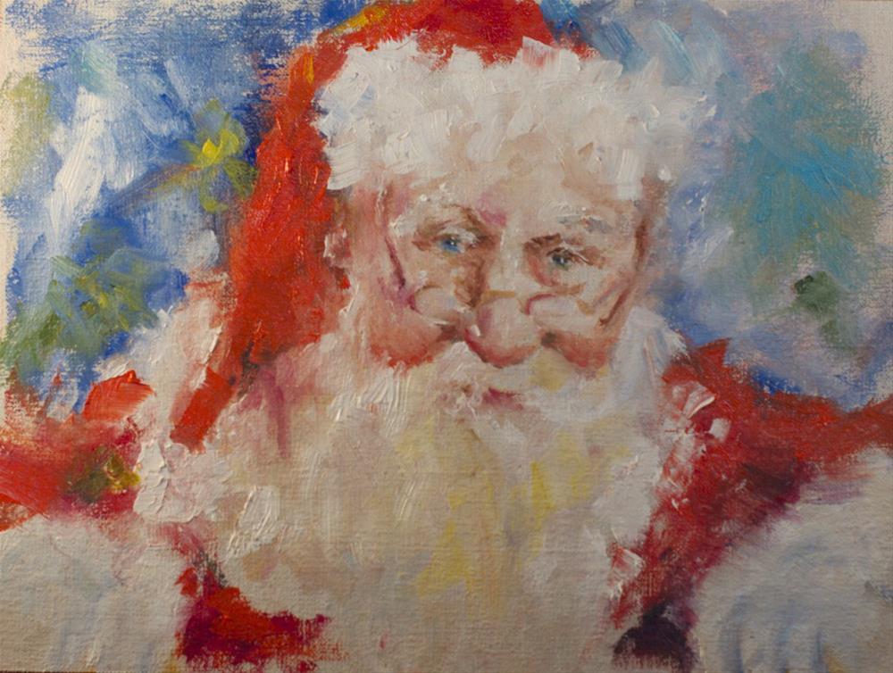 """Thoughtful Santa"" original fine art by Sue Churchgrant"
