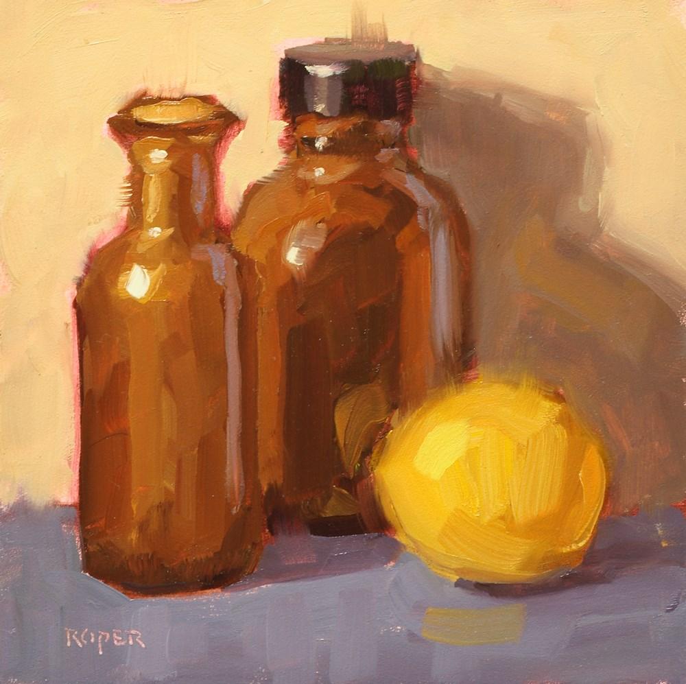 """""""Lemon With Amber Bottles """" original fine art by Stuart Roper"""