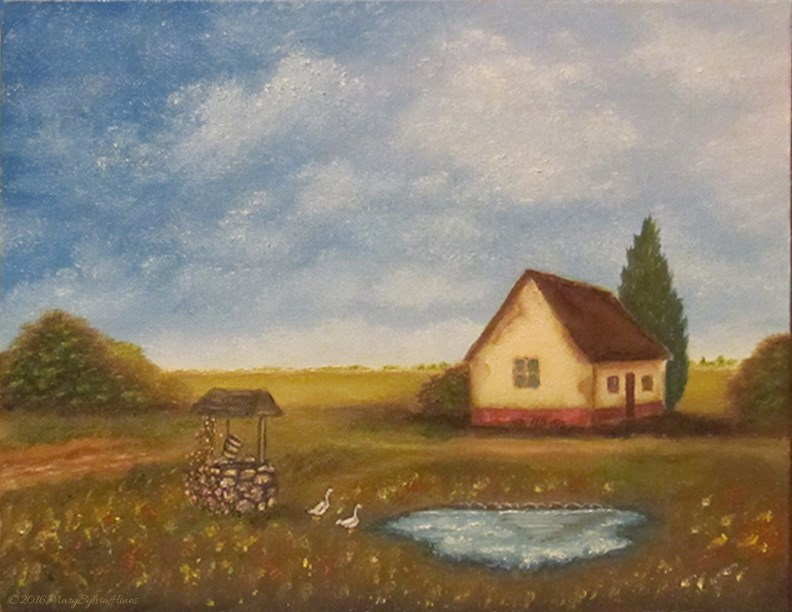 """""""Cottage on the Hill"""" original fine art by Mary Sylvia Hines"""