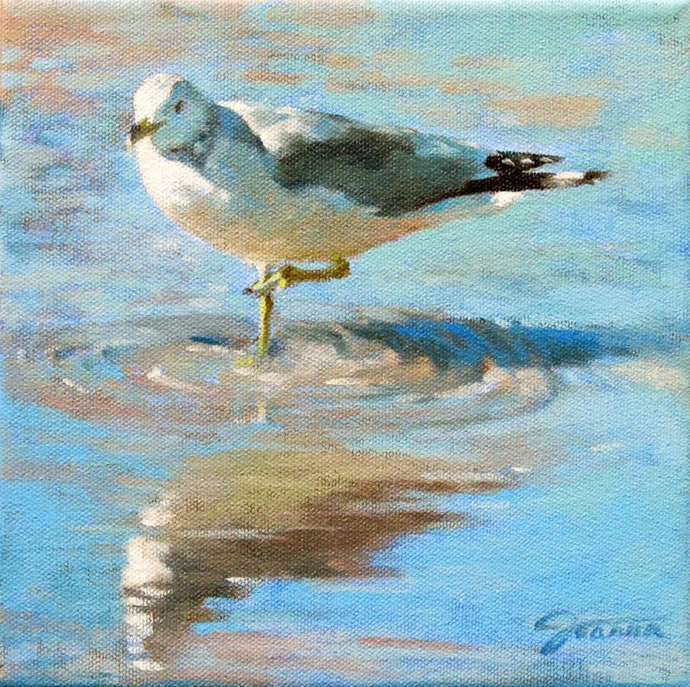 """""""Seagull with the Reflection"""" original fine art by Joanna Bingham"""