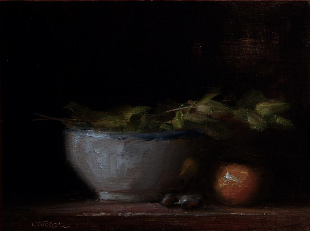 """""""Bowl with Leaves"""" original fine art by Neil Carroll"""