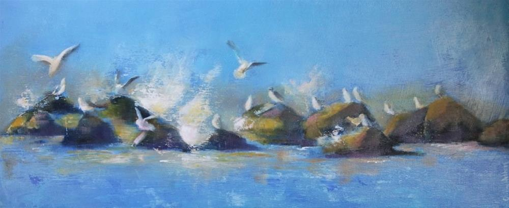 """""""Seagulls and Spray"""" original fine art by Cathy Holtom"""