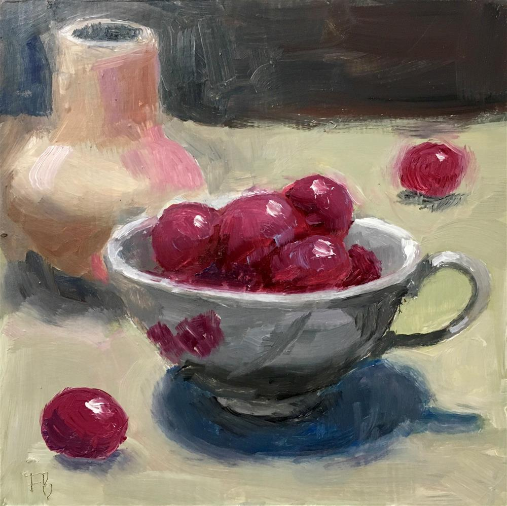 """""""087 Red Grapes In A Cup"""" original fine art by Fred Bell"""