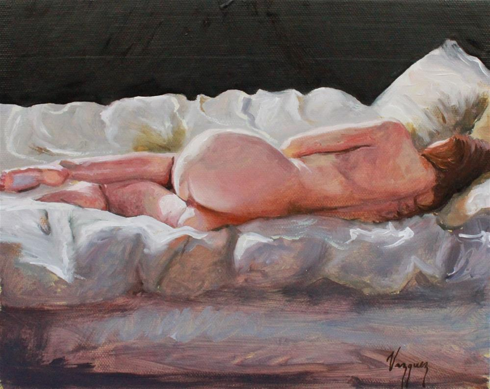 """Nude in bed"" original fine art by Marco Vazquez"