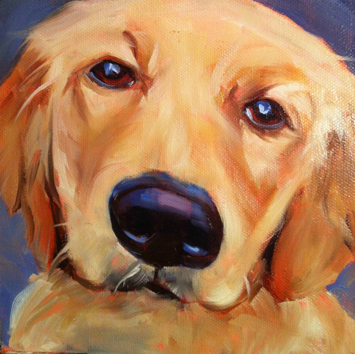 """""""Best Dog in The World #8, oil on ray mar, 6x6"""" original fine art by Darlene Young"""