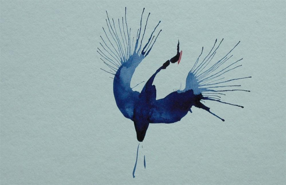 """Blue crane spreading his wings"" original fine art by Ulrike Schmidt"