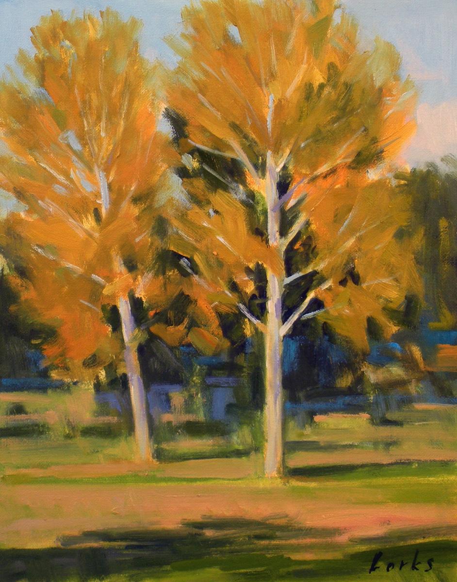 """""""Golden Sycamores"""" original fine art by David Forks"""