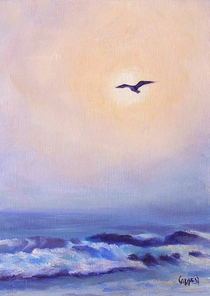 """Flight, 5x7 Oil Painting on Canvas Panel, Seascape with Bird"" original fine art by Carmen Beecher"