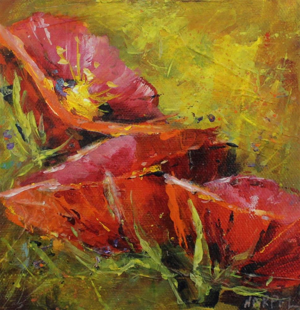 """""""red poppy landscape floral flower acrylic painting"""" original fine art by Alice Harpel"""