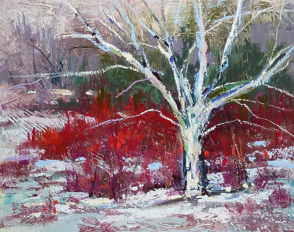 """Adding Spice to a Winter Landscape"" original fine art by Karen Margulis"