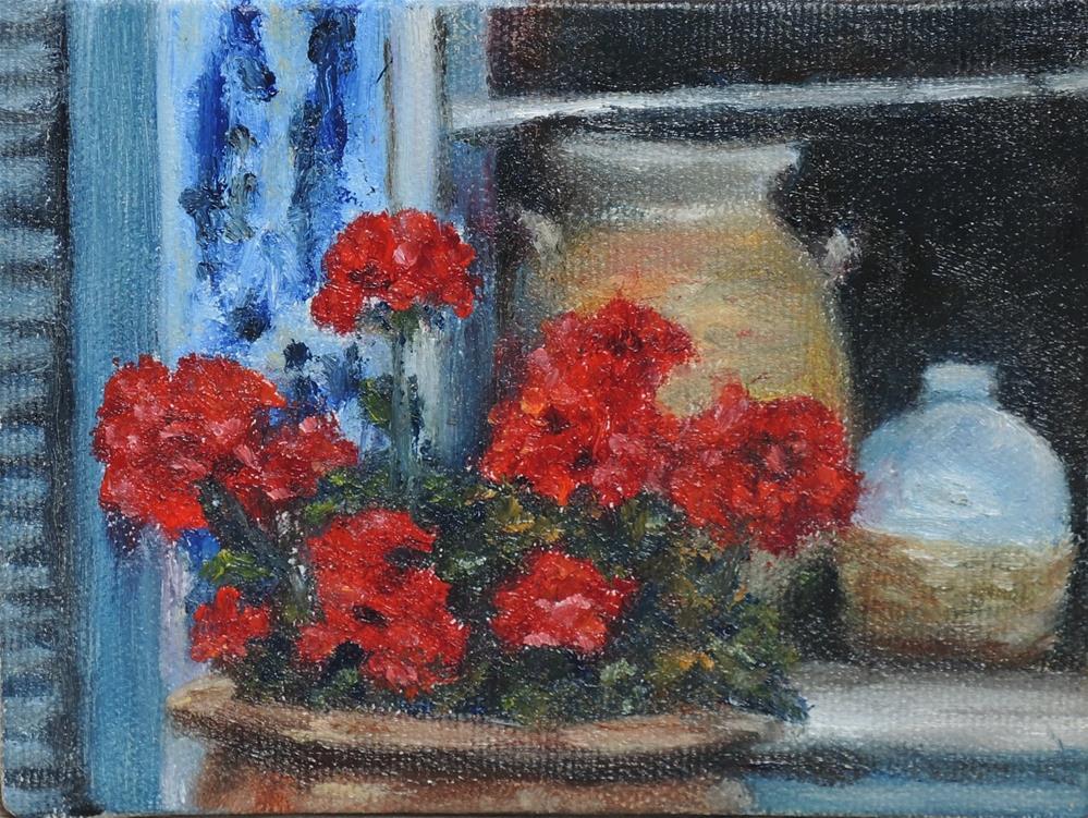 """Taos Geraniums"" original fine art by Candi Hogan"