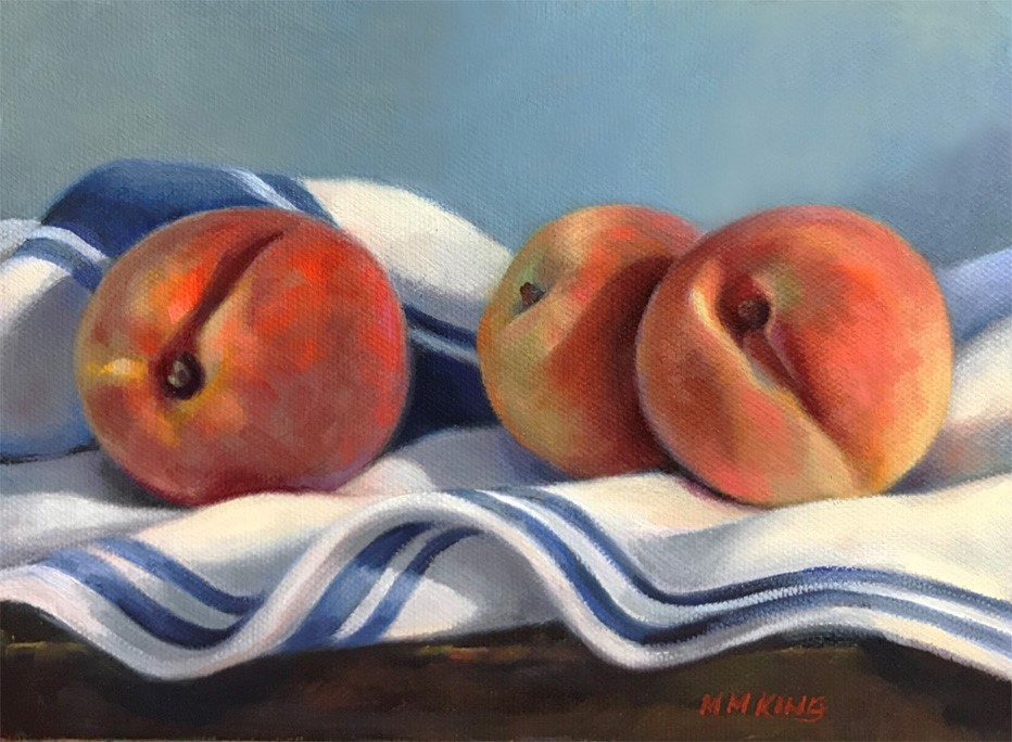 """Peaches on French Cloth"" original fine art by Marilyn M King"