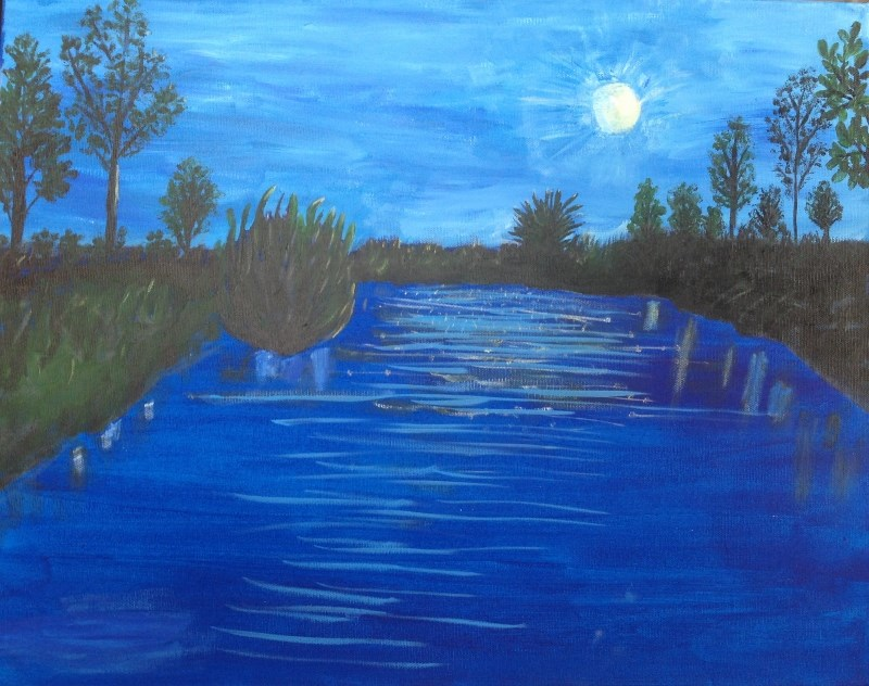 """Moon on the Pond"" original fine art by Brenda Smith"