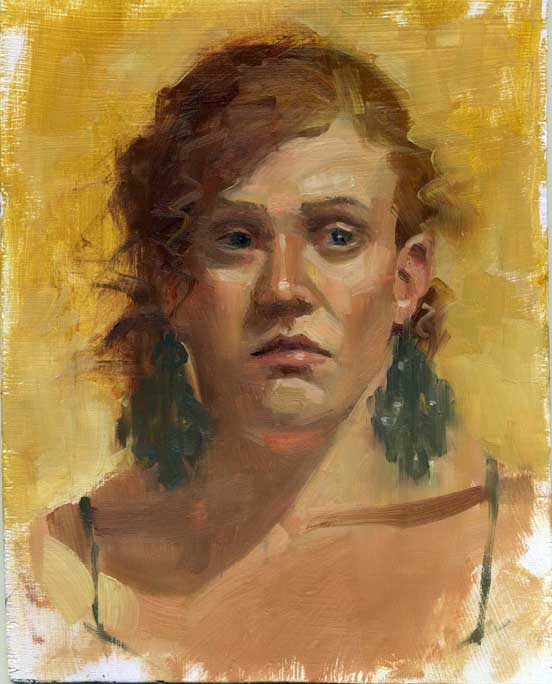 """Girl with earrings"" original fine art by Kathy Weber"
