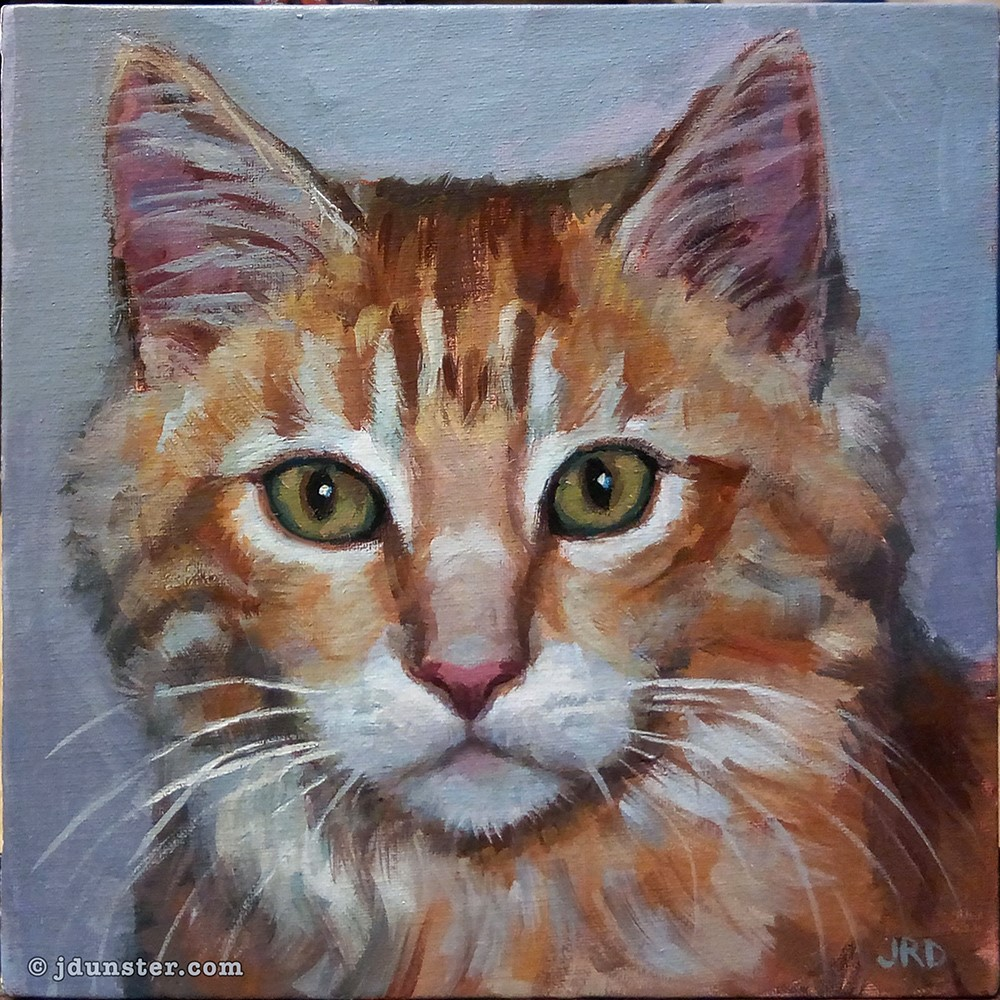 """Fluffy Orange Kitten"" original fine art by J. Dunster"