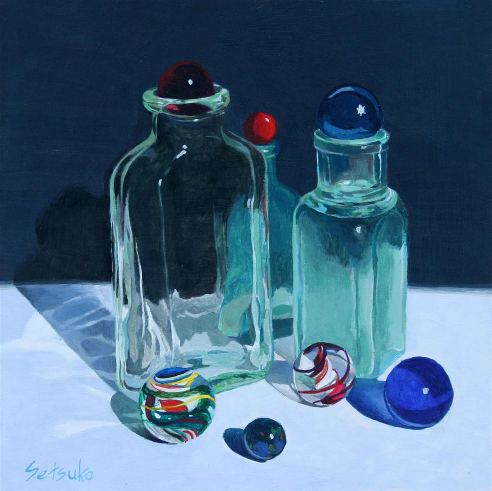 """Bottles"" original fine art by Setsuko Lawson"
