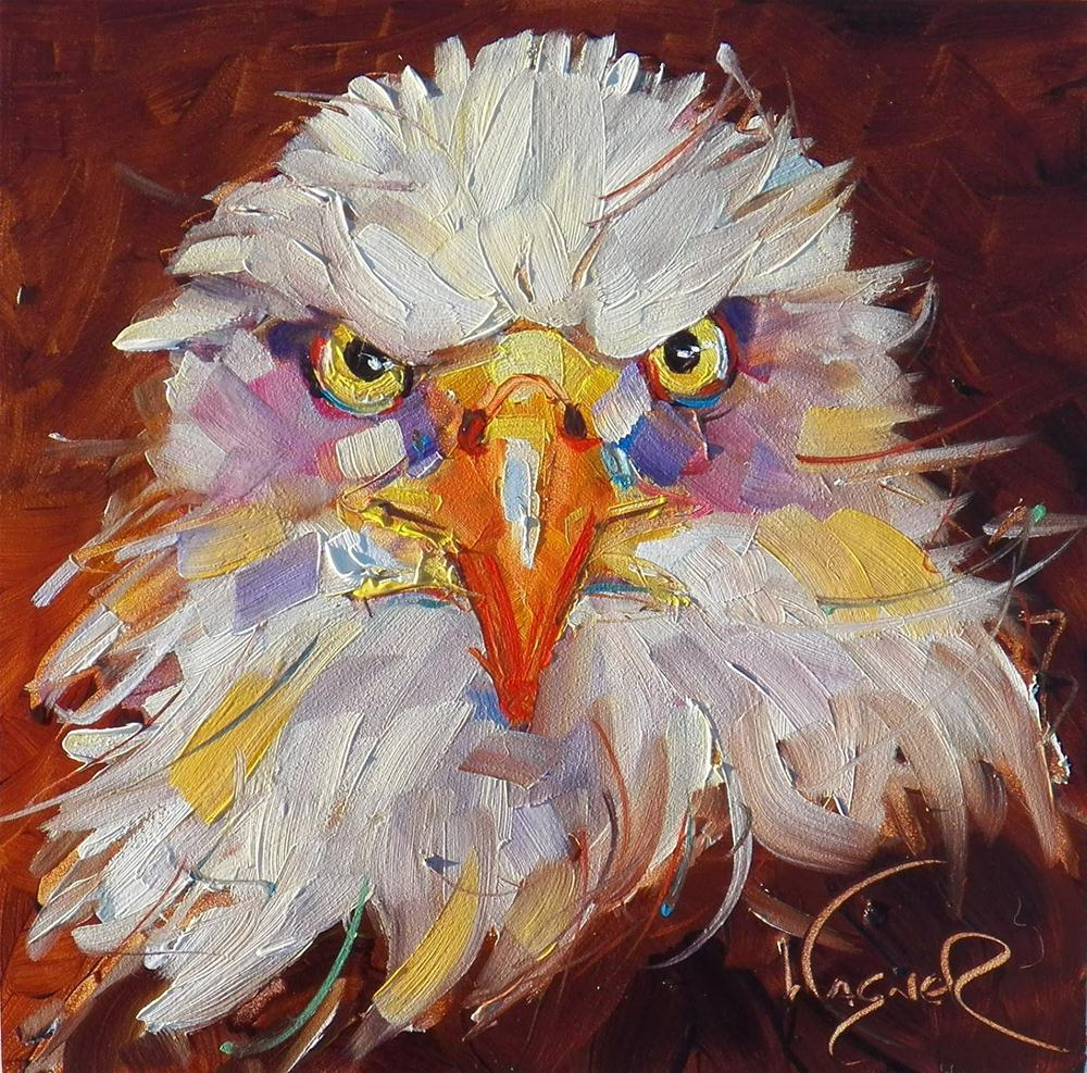 """""""FRESH START with CONTEMPORARY EAGLE by OLGA WAGNER and  ART SHOW"""" original fine art by Olga Wagner"""