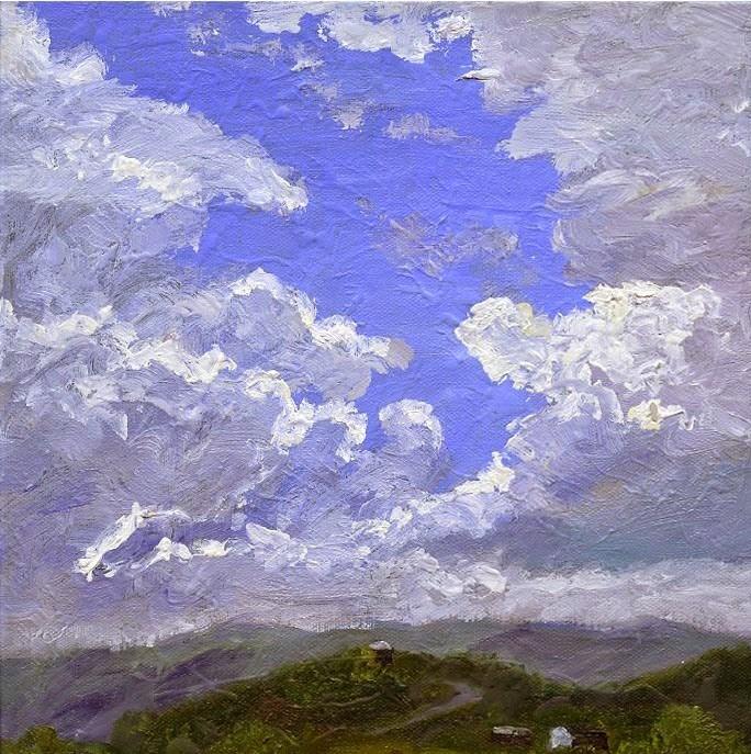 """ORIGINAL PAINTING OF SKY CLOUDS SW VIRGINIA BLUE RIDGE MOUNTAINS"" original fine art by Sue Furrow"