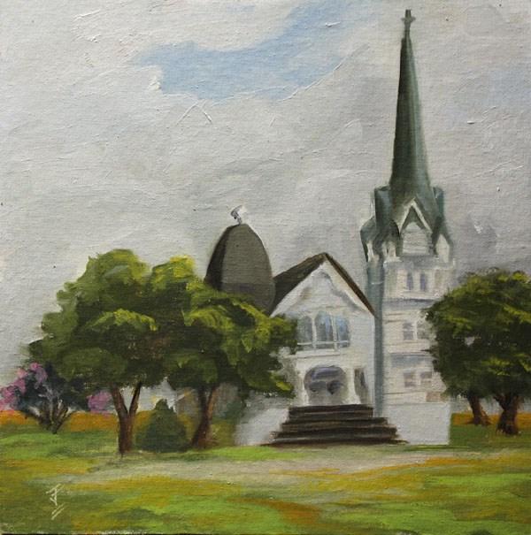 """New Sweden Lutheran Church"" original fine art by Jane Frederick"
