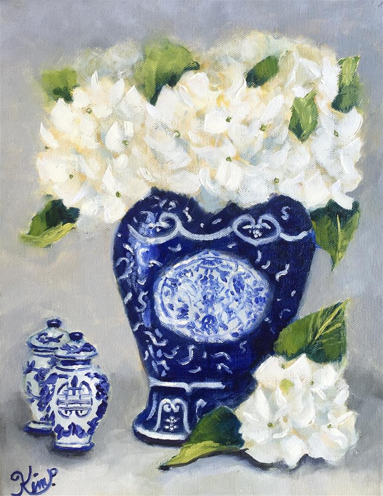 """""""Still life with White Hydrangeas with Blue and White Porcelain"""" original fine art by Kim Peterson"""